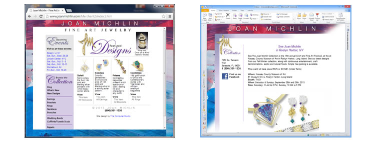 joan michlin website and marketing email